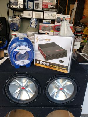 12 inch kickers cvr and amplifier and kit for Sale in Los Angeles, CA