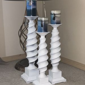 Candle Holders. White. Blue Candles for Sale in Kent, WA