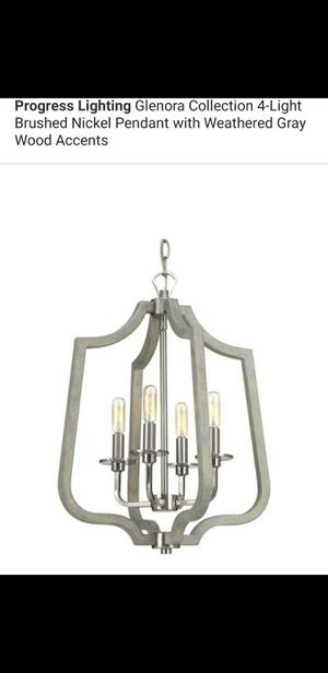 4 light brushed nickel pendant with wood accents for Sale in Bakersfield, CA