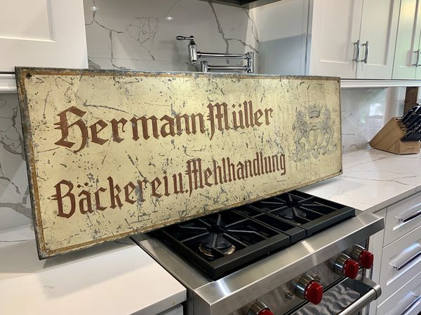 "Original 52""x18"" Metal German Backerei (Bakery) sign"