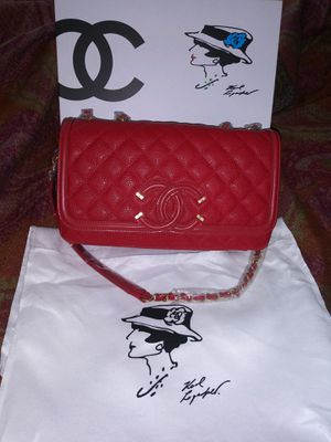 Chanel Red Nubuck Caviar Leather Classic Flap Shoulder Bag for Sale in Santa Ana, CA