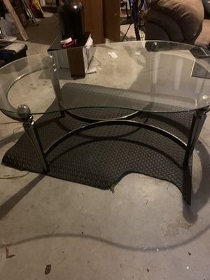 Large Kidney Bean Glass Coffee Table for Sale in Durham, NC