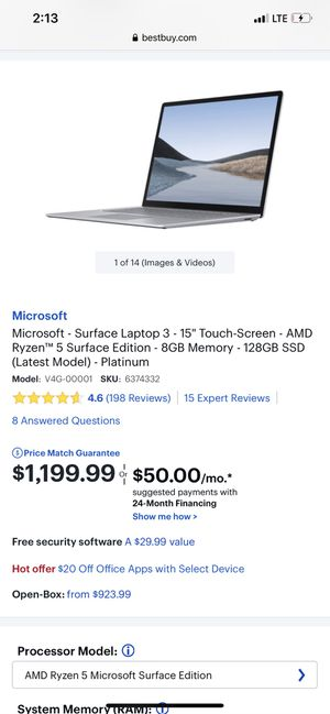 """Microsoft Surface Laptop 3 15"""" Touchscreen for Sale in Ventura, CA"""