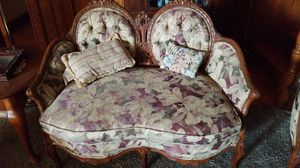 Antique Heart shaped French loveseat and chair for Sale in Lake Elsinore, CA