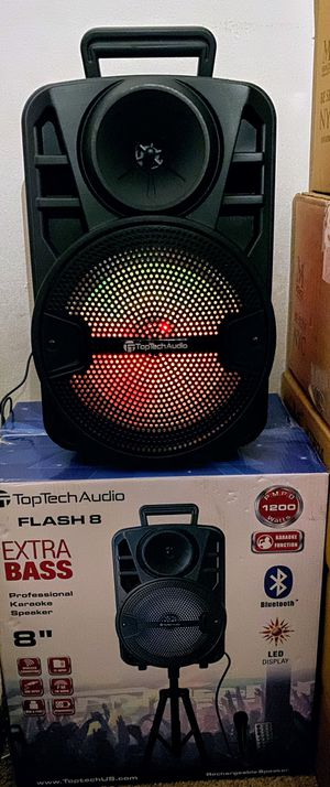 """bluetooth speaker 1200 watts 8"""" with stand microphone controls for Sale in Cherry Hill, NJ"""