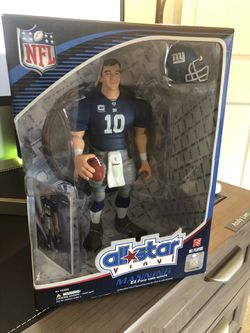 NFL Eli Manning 2008 All Star Vinyl Action Figure with Toy Football and Trading Card Upper Deck NIB for Sale in Fairfax,  VA