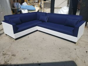 NEW 7X9FT DOMINO NAVY FABRIC COMBO SECTIONAL COUCHES for Sale in Cathedral City, CA