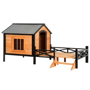 "67"" Large Wooden Dog House Cabin Style with Porch Outdoor Use for Sale in Los Angeles, CA"