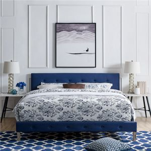 New! Queen Sapphire Blue Fabric Platform Bed + FREE DELIVERY!! for Sale in Baltimore, MD