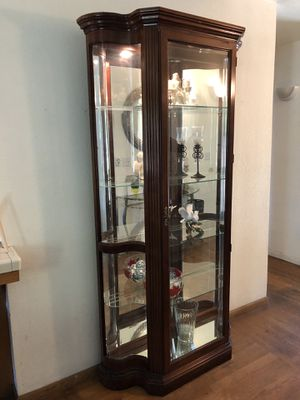 Nice tall cherry wood curio! for Sale in Fresno, CA