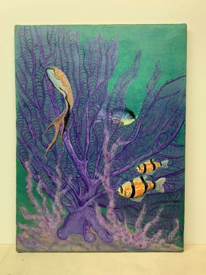 """Original Oil Painting On Canvas Fish In Reef Glitter Signed Jean Norwood 18x24"""" for Sale in Los Angeles, CA"""