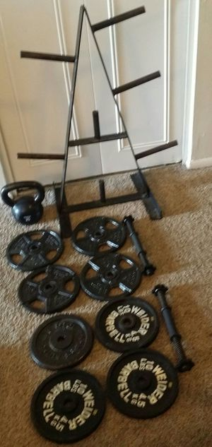 Weights standard 80lbs, 8x10lbs, 2 dumbbell bars, 25lb kettle bell and body solid weight tree. for Sale in Deerfield Beach, FL