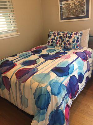 Queen duvet cover & matching throw pillows- watercolor print for Sale in Falls Church, VA
