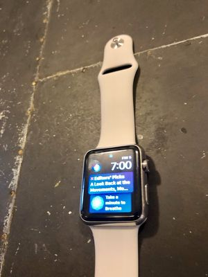 Apple Watch Series 1, 42mm Stainless Steel Case with White Sport Band for Sale in San Francisco, CA