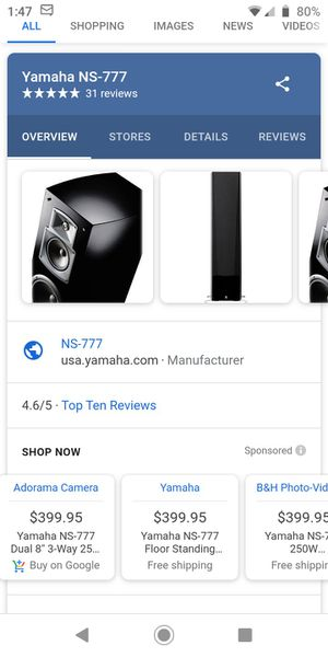 Yamaha NS-777 3-Way Bass Reflex Tower Speaker for Sale in Houston, TX