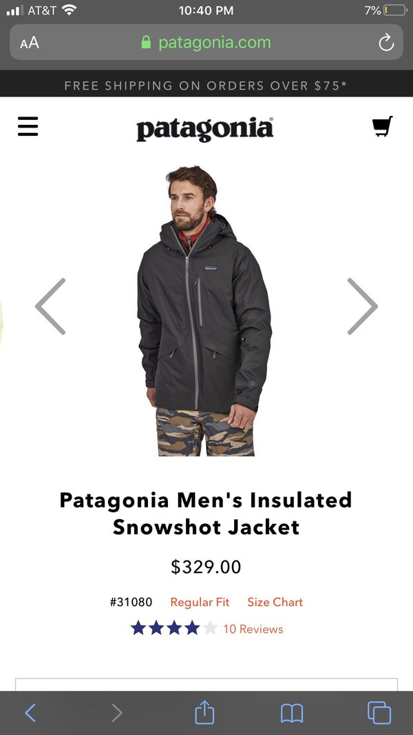 Patagonia men's Snowshot Insulated Jacket. Color: (NAVY)