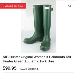 Hunter Tall Green Rubber Boots 9 for Sale in Martinez, CA
