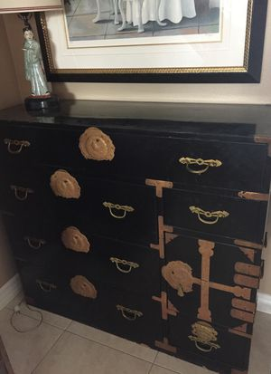 Antique black lacquer 9 drawer chest for Sale in Lake Forest, CA