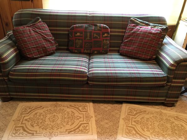 Plaid sofa couch used in good condition best offer