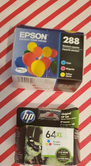 😊NIB Printer Ink $25 EPSON 288 COMBO of Black and Colored Ink $15 HP 64 XL Black for Sale in Starkville, MS