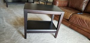Chocolate wood end table and coffee table set for Sale in Denver, CO