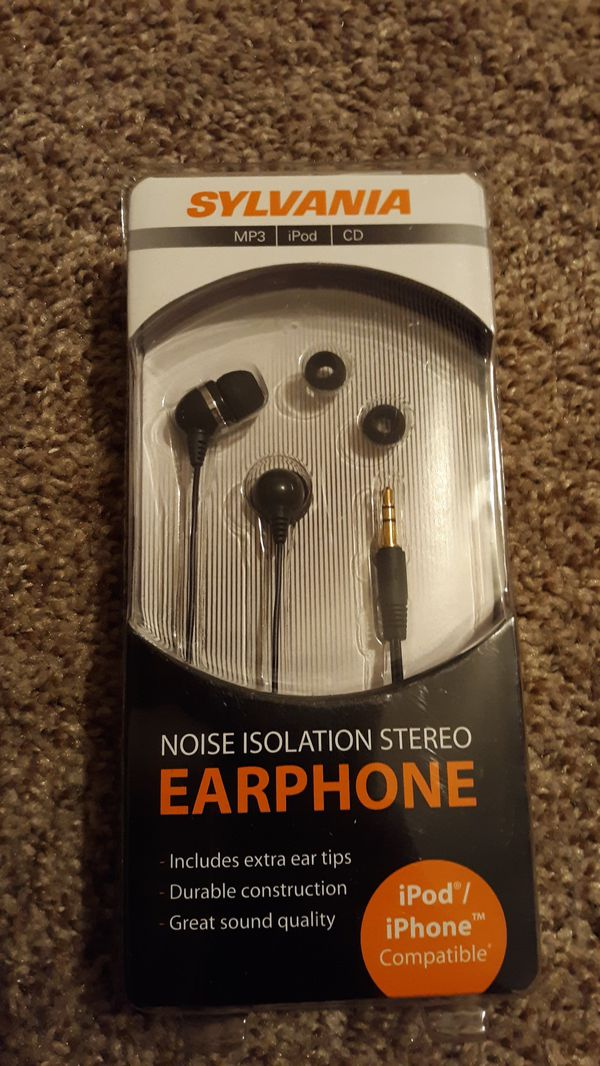 Sylvania noise isolation stereo earphones