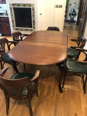 Refinished antique hard wood table and 10 chairs for Sale in Reading, PA