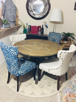World market Pier 1 imports industrial rustic farm dining table set for Sale in San Diego, CA