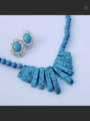Gorgeous Vintage Turquoise & Silver Gemstone Necklace & Earrings Set for Sale in Arbovale, WV