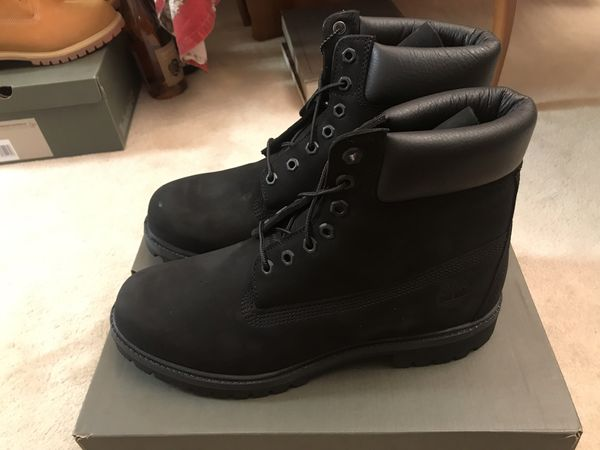 "Men's Timberland Classic 6"" Premium Waterproof Boots - Black Color Size 10.5W Wide"