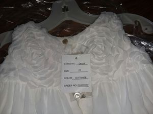 Beautiful white 2T flower girl dress and footless sandals. for Sale in Goldsboro, NC