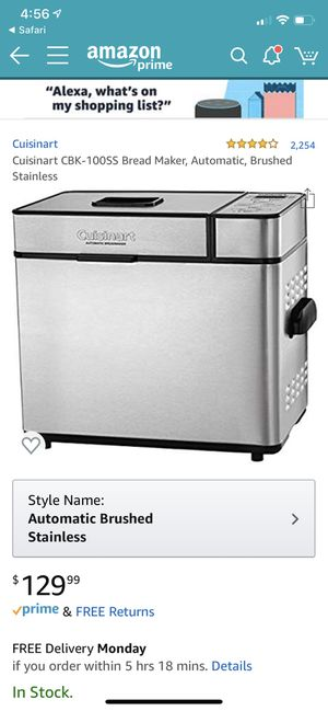 Cuisinart CBK-100SS Bread Maker, Automatic, Brushed Stainless, new in box for Sale in Lexington, KY