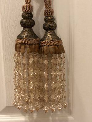 Curtain holder gold brown tan crystals for Sale in Rockville, MD