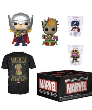 Funko Marvel Collectors Corps Box 19.99 thor groot Pop tshirt and shit glass set for Sale in Land O Lakes, FL