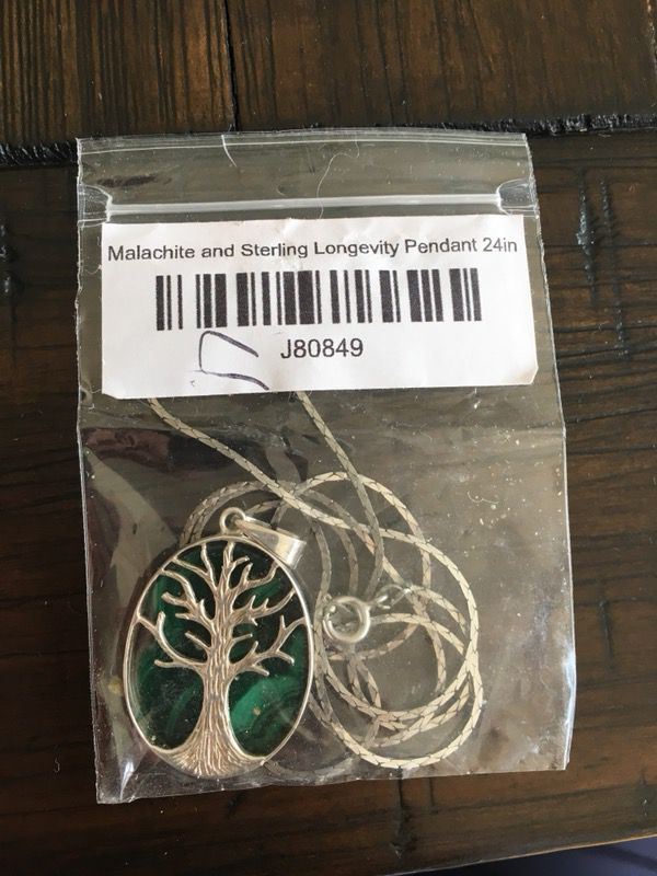 Brand New Malachite and Sterling Longevity Necklace