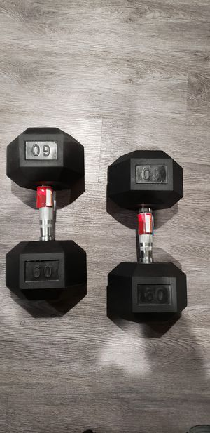 (2) 60 LBS POUNDS DUMBBELL PAIR BRAND NEW **PICKUP TODAY** for Sale in Fresno, CA