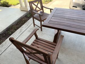 New wood X-back dining table w/ 6 chairs for Sale in Lathrop, CA