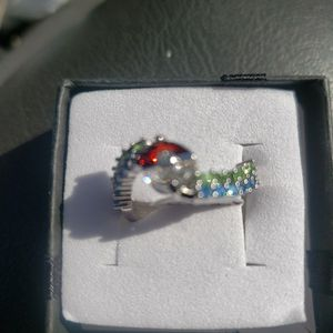 127976927 925 Stearling Silver Colorful Crystal Elf Ball Shape Ring for Sale in Haines City, FL