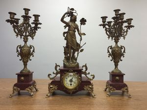 French Antique 1890's Mantel Clock Set, Marble, Sculpture & Candelabras for Sale in Westminster, CA