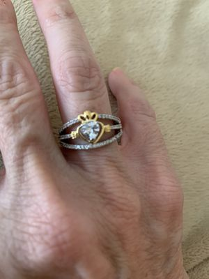 New CZ heart gold and silver filled wedding ring size 6 for Sale in Palatine, IL