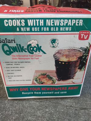Safari qwikcook portable BBQ grill uses paper or charcoal for Sale in Tacoma, WA