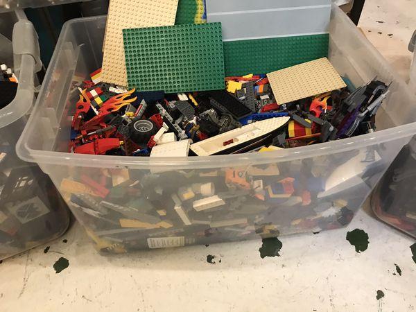3 66 quart PENDING Tubs of good quality Legos plus Minifigs