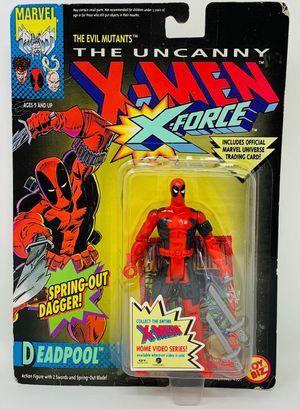 1992 Vintage Toy Biz Marvel Uncanny X-Men X-Force Deadpool Spring Out Dagger Action Figure Toy for Sale in Willow Springs, IL