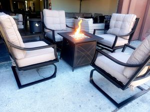 New 5 piece outdoor patio aluminum lounge arm club chair fire pit for Sale in Chula Vista, CA