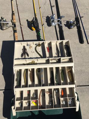 Fishing poles and tackle box for Sale in Moreno Valley, CA
