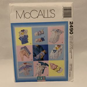 McCall's Pattern 2490 BABY LAYETTE Preemie Infants NB Gown Top Diaper Cover Hat for Sale in Mesa, AZ