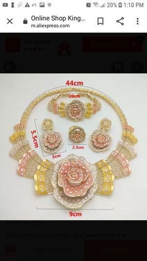 119 Kingdom Ma Dubai Gold Color Jewelry Sets For Women African Necklace Earrings Bracelet Rings For Party Wedding Bridal Accessories for Sale in Vallejo, CA