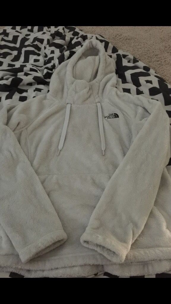 White and Black North Face Jacket