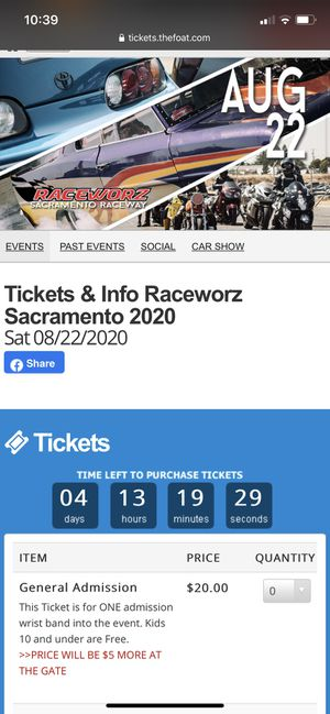 Raceworz tickets for Sale in San Jose, CA