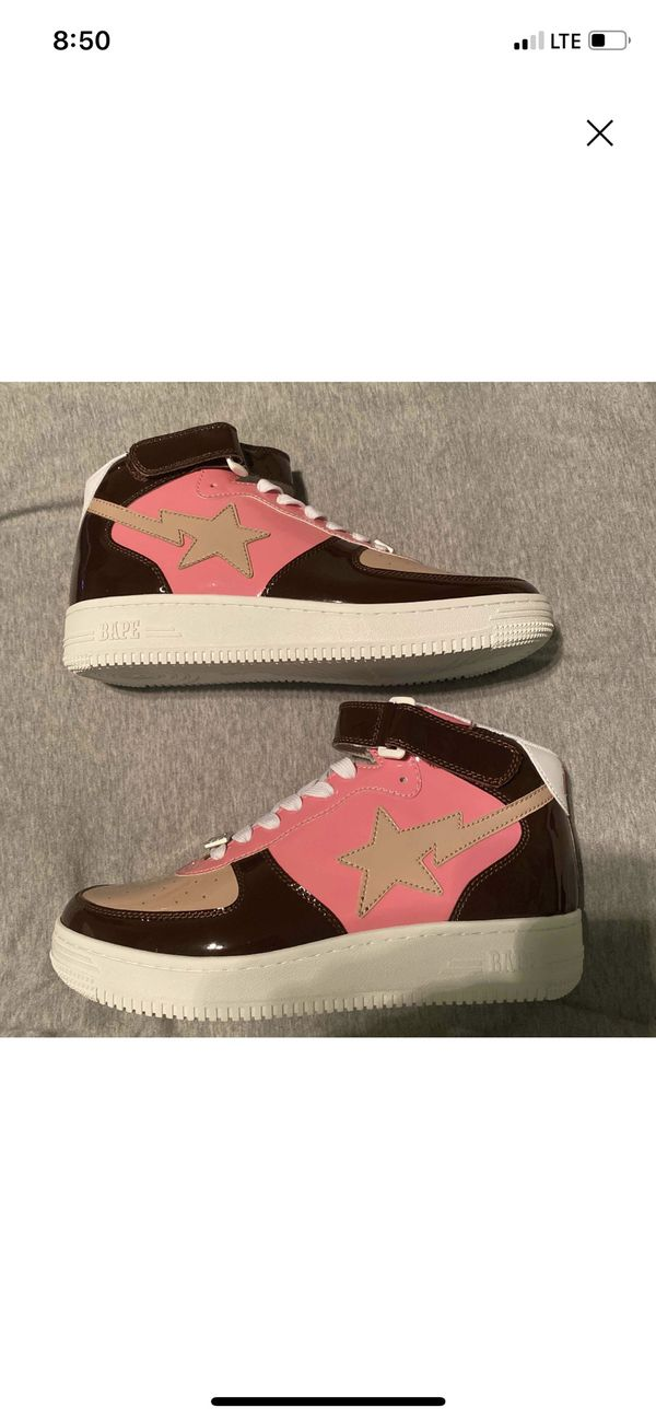 A BATHING APE Bape Sta Mid Pink Black Sneakers US 9Shoe 20th Anniversary